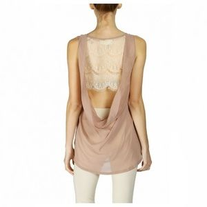 New A'Reve Drape Back Lace Top Cream Beige S M L